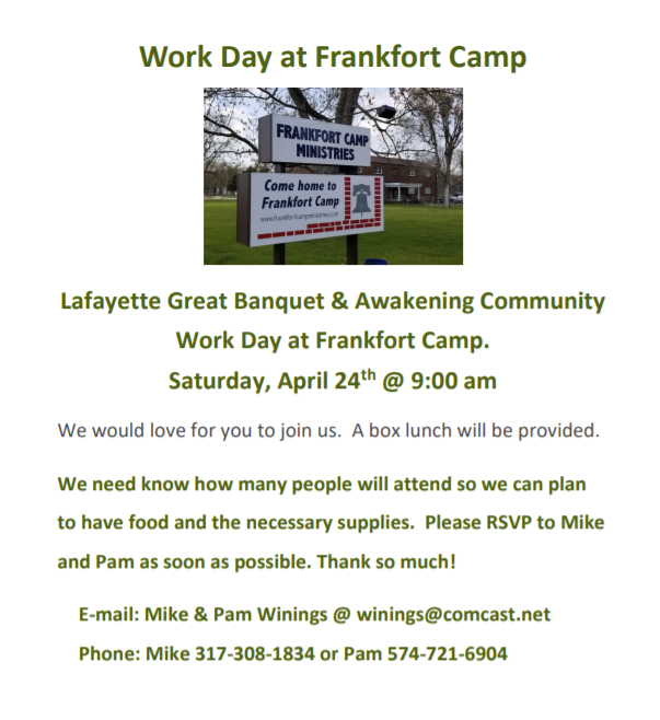 Work Day at Frankfort Camp Saturday, April 24 2021 at 9:00am